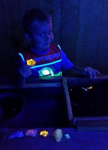 Black light mining at Pisgah Forest Gem Mine.