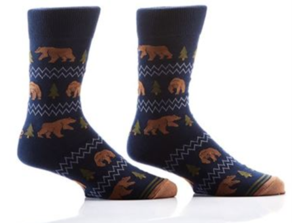 MEN'S CREW SOCK, BEARS & TREES #411422