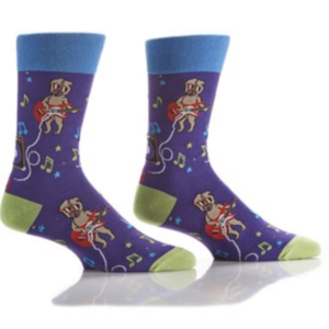 Yo Sox Men's Crew Sock Guitar Pug 411656
